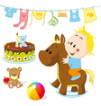 baby on rocking horse vector image