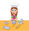 funny cartoon girl making cake vector image