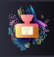a perfume bottle with a doodle pattern bright vector image