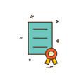award document file prize ribbon icon design vector image