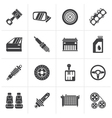 Black Detailed car parts icons vector image vector image