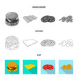 burger and sandwich sign vector image vector image