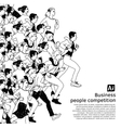 Bus people big group competition black vector image vector image