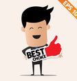 Business man holding Stitcker Best tag collection vector image vector image