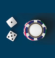 casino background dice and chips top view of dice vector image
