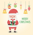 christmas card with santa claus and balls hanging vector image
