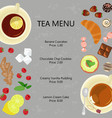 cups of tea and sweets vector image vector image