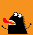 cute black silhouette monster face icon happy vector image vector image