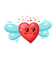 cute flying heart valentine day greeting card vector image vector image
