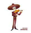 dia de muertos mariachi musician skeleton violin vector image vector image
