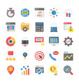 flat icons seo and marketing pack vector image