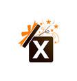 gift box ribbon letter x vector image vector image