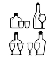 glass and bottle icons vector image vector image