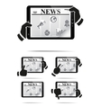 Hands holding tablet pc with news vector image vector image