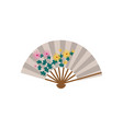 icon or sign asian womens fan with flowers flat vector image vector image