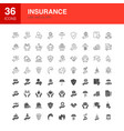 insurance line web glyph icons vector image vector image