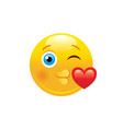 kissing heart emoji icon 3d face smile for love vector image