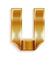 Letter metal gold ribbon - U vector image vector image