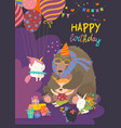 little girl celebrating birthday with her friends vector image vector image