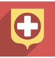 Medical Shield Flat Square Icon with Long Shadow vector image