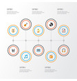 multimedia icons flat style set with fm musical vector image vector image