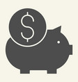 piggy bank solid icon savings vector image