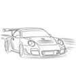 racing car on the move drawn contour vector image