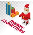 Santa Claus gift box sometric 3d icons vector image