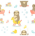 seamless baby pattern with cute sloths vector image vector image