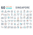 set line icons singapore vector image vector image