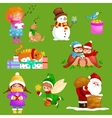 set Merry Christmas Happy new year vector image vector image