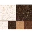 Set of coffee seamless patterns vector image vector image