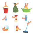 set of human hands and cleaning supplies bucket vector image vector image