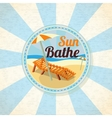 Summer sun bathe on the shore retro background vector image vector image