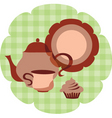 tea set with muffin vector image vector image