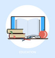 textbook and tablet pc knowledge education e vector image vector image