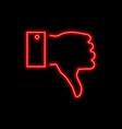 thumb down hand dislike sign bright glowing vector image vector image