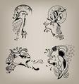 set of patterns of wild animals vector image