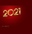 2021 happy new year banner gold 3d numbers sign vector image vector image