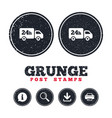 24 hours delivery service cargo truck symbol vector image