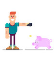 a man throws money into a piggy bank vector image