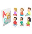 abc children boys and girls in kindergarten vector image