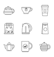 Beverage icons set outline style vector image vector image