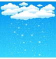 cartoon clouds snow falls vector image vector image