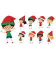 children with christmas hats vector image