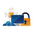 cloud computing monitor processor security vector image vector image