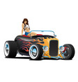 custom hot rod roadster car with sexy woman vector image