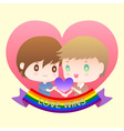 cute cartoon or mascot gay man lover in heart vector image