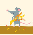 cute rat with wheat grains harvest vector image