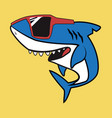 cute shark cartoon character with red glasses vector image vector image
